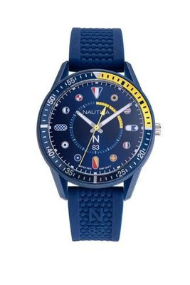 Nautica 男士手錶 NAPSPS904 Surf Park 43毫米 藍色錶盤 矽膠手錶