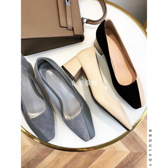 有家服飾BB古性感高跟鞋 2019新款真皮方頭粗跟單鞋低跟淺口職業上班女鞋