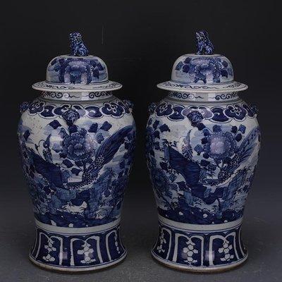【三顧茅廬 】清晚期青花手繪花鳥紋將軍罐一對 家藏仿古瓷古玩古董收藏擺件
