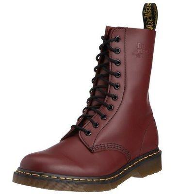 Dr.Martens 馬丁鞋 馬汀鞋 經典1490 10孔  櫻桃紅色 硬皮 【 BRITISH LOOK 】