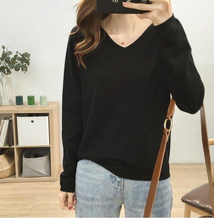 🌺 拿鐵小姐MISS LATTE🌺衣櫃必備款 基礎款顯瘦V領軟糯舒適純色針織衫