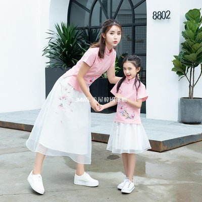 JMW集美屋韓國專櫃團購2019春夏季中國風文藝復古刺繡棉麻兩件套親子裝母女裝連衣裙