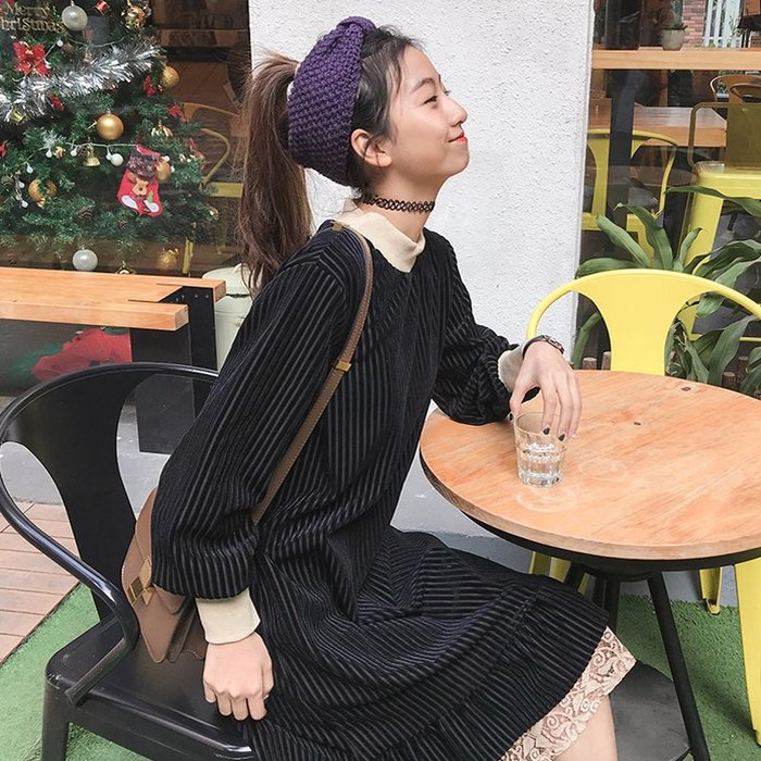 舒適上衣 韓系 原創上衣 甜美 寬鬆 中長款高領燈芯絨蕾絲花邊寬松長袖連衣裙子女