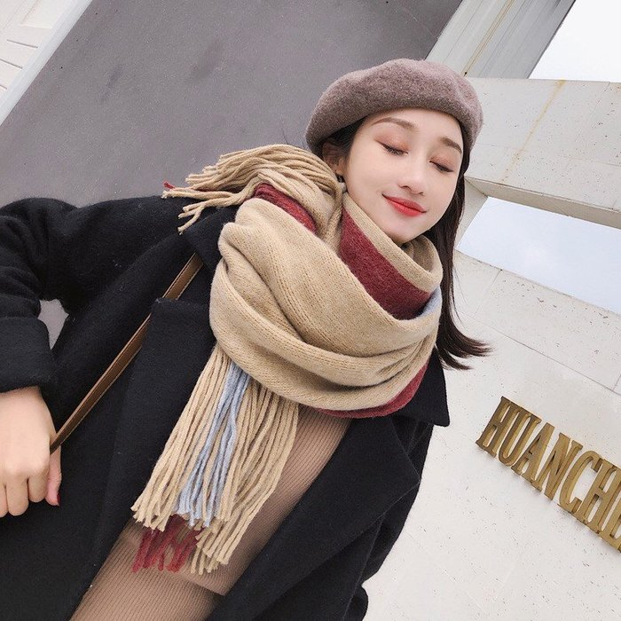 圍巾 披肩 針織 拼色 流蘇 脖圍 ~ WM70