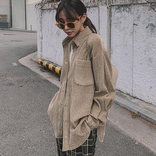 i-Mini 正韓|胸前口袋絨質寬鬆長版襯衫|3色‧ 韓國連線‧代購‧空運【B11275510DU】