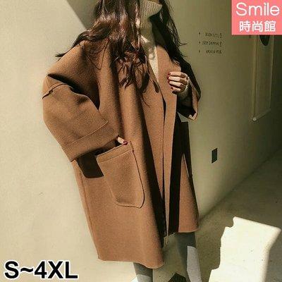 【V2674】SMILE-冷冬陪伴‧無釦大口袋毛呢中長款大衣外套