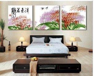 【優上精品】掛畫三聯畫墻畫現代簡約臥室裝飾畫歐式家居無框畫蘭花壁畫(Z-P3259)