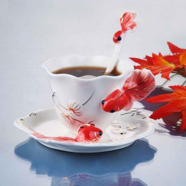5Cgo【鴿樓】琺琅瓷 45628055474  金魚杯 杯 盤 匙 下午茶杯組 陶瓷手工彩繪 法蘭 貴婦 小資