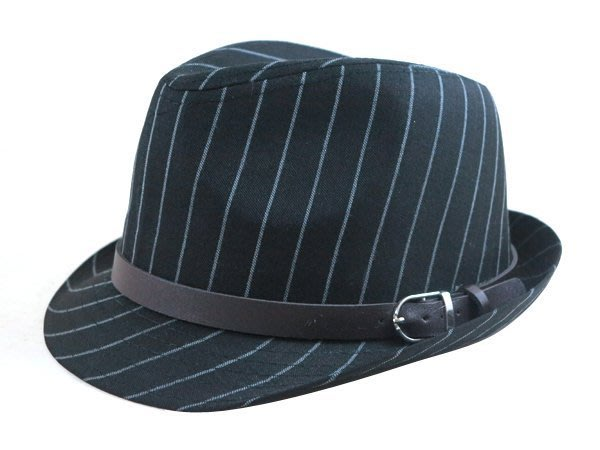☆二鹿帽飾☆帥氣時尚風格☆  男帽女帽 -流行 西裝布(直條紋)皮帶款.緞帶設計爵士帽-紳士帽-黑色