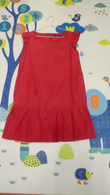 susu高單價日本品牌珊瑚紅荷葉邊洋裝