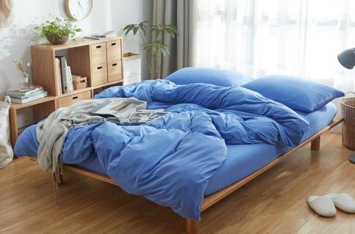 純棉親膚裸睡專用床包組(海洋藍) 床包 床單 枕頭套 枕頭 床 棉被 被套 寢具 裸睡 純棉 床包組 拖鞋 室內拖鞋