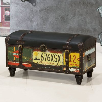 【優比傢俱生活館】19 便宜購-80工業風長木車牌造型大收納椅/穿鞋椅 SH760-8