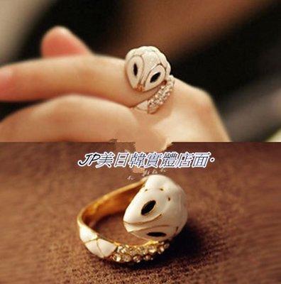 飾品優雅水鑽小白蛇食指戒指 指環 尾戒 水晶 復古 寶石 增加你的桃花