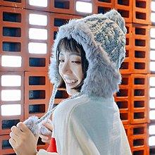 冬天加厚保暖雷鋒帽韓版麻花針織帽可愛純色兔毛毛球護耳毛線帽女