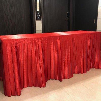 居家家飾設計 會議桌巾系列 特價-全罩式百摺三面圍桌罩(高亮緞)-適用於固定桌子使用-含上蓋桌巾一起車縫