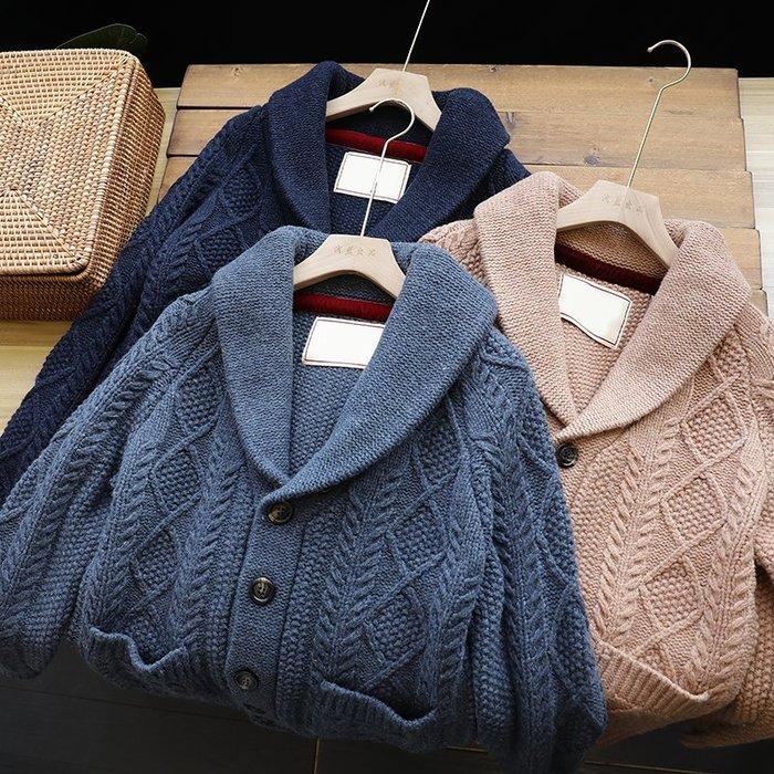 ☆MR.STORE.A☆日單復古保暖厚款重磅羊毛翻領毛衣外套(3色)~預購+現貨