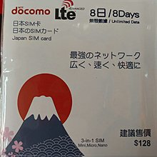 日本上網卡8日無限上網數據卡 Japan 8 days unlimited data sim card DoCoMo