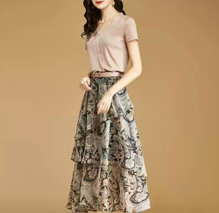 歐美 短袖 蕾絲 上衣 印花 裙裝 兩件套 專櫃 設計 舒適 透氣 Me Gusta