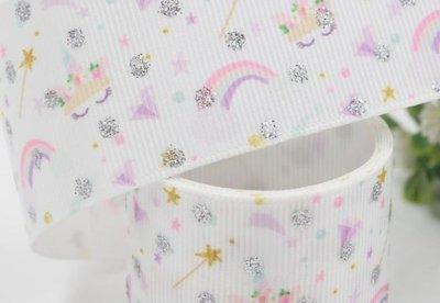手作材料 手工 DIY材料 38mm  羅紋織帶 印刷羅紋帶 織帶 包裝絲帶織帶 蝴蝶結包裝 星光
