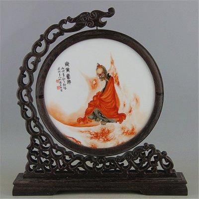 民國粉彩紅羅漢雙面薄胎瓷板畫   王步精品手工古瓷 收藏古玩擺件