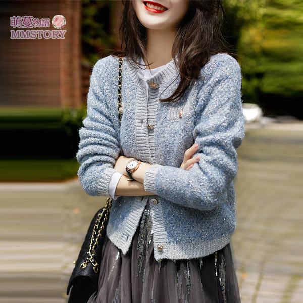 天空藍小亮片針織衫 萌蔓物語 【KF0384】韓氣質女外套