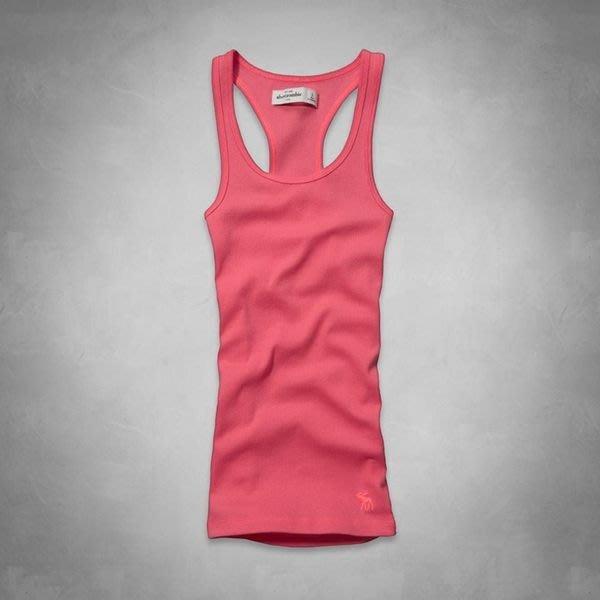 【abercrombie kids】【a&f】【L XL】af女童挖背背心素款粉橘 F07140528-15