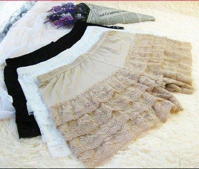 ~秘密花園~ 三色大碼棉質彈性蕾絲安全褲 內搭褲 雙層 彈性短褲 安全褲 角色扮演服內搭短褲