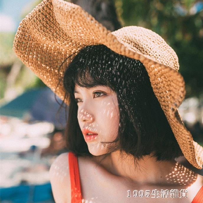遮陽帽 可摺疊手工大沿草帽女度假防曬太陽帽遮陽帽子