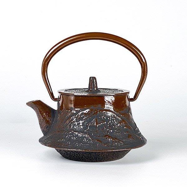 日本鑄鐵壺南部鐵器【寶星堂】富士型 山水 急須0.25L 附濾網 鑄鐵壺 茶壺 鐵壺 茶具