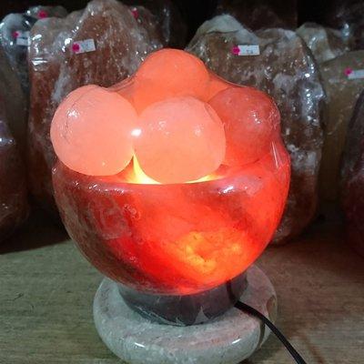 實品拍照,圓球聚寶盆 玫瑰鹽燈 升級可調光電線 招財 入厝 開市 風水