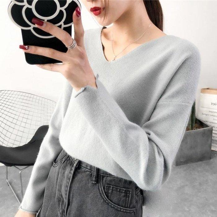 雪紡上衣  短款V領針織衫秋冬新款寬鬆上衣女裝套頭長袖韓版毛衣打底衫