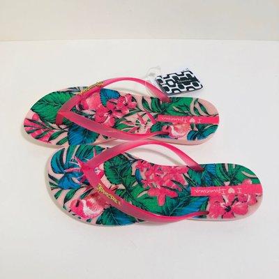 《現貨》Ipanema 女生夾腳拖鞋 巴西尺寸33/34,35,36,37,38(舒適鞋底 熱帶叢林 人字夾腳平底拖鞋-粉紅/桃紅帶)