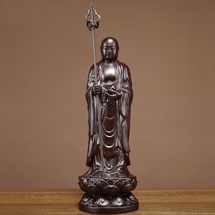【睿智精品】南無地藏王菩薩 法像莊嚴 木雕擺件 黑檀木(GA-4845)