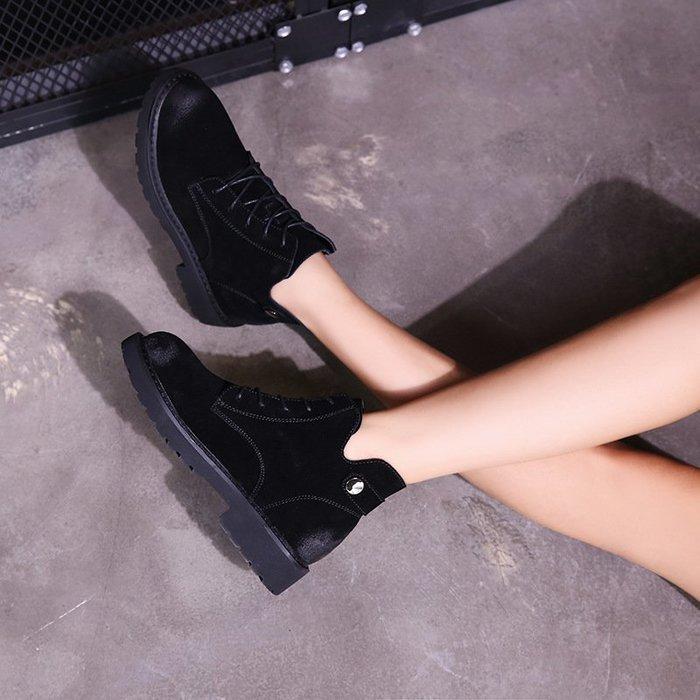 【夯好物】馬丁靴真皮短靴馬丁靴女2018秋冬新款英倫風學生靴子休閒高幫粗跟單靴女歐美