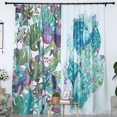 好物多商城 訂製成品窗簾ins北歐風綠植小清新遮光布臥室客廳隔斷簾門簾掛布