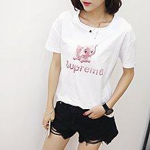 =EF依芙=韓國首爾 時尚精品 東大門同步 夏季新款韓版胖mm時尚小象印花圓領短袖T恤 大碼女裝17819