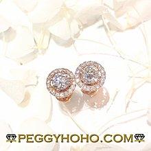 【Peggyhoho】全新18K玫瑰金((單頭68份))配18份jacket耳環套真鑽石4爪耳環一對| 玫瑰金 |超值長青抵戴