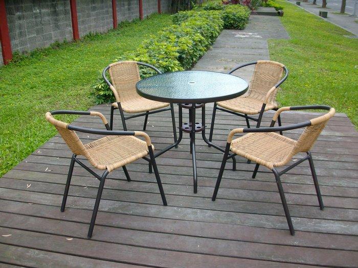 [兄弟牌庭園休閒傢俱]80cm黑色庭院圓桌+4 張PE藤椅(黑色/綠色可選)~3500元/組,餐椅休閒椅直購免運費 !