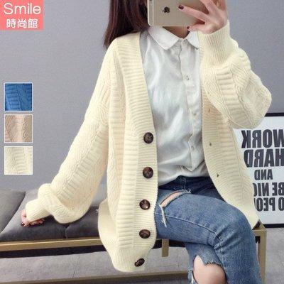 【V2652】SMILE-慵懶風.純色寬鬆針織毛衣外套