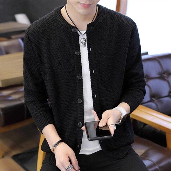 秋季薄款純色開衫毛衣男士韓版潮流寬鬆毛線上衣服青年休閒外套男