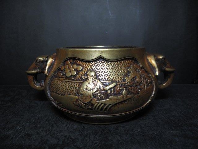 老銅爐 ◎銅鎏金 太平有象 銅香爐 【雲間胡文明製 款】