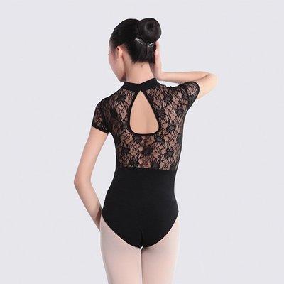 5Cgo【鴿樓】會員有優惠 530182629925 女成人芭蕾舞練功服高領蕾絲舞蹈服短袖形體服 短袖連體服