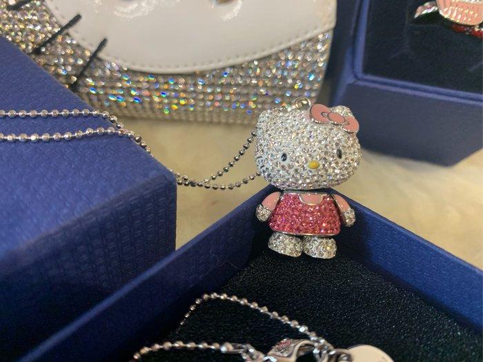 ※芯閣名牌精品店※ SWAROVSKI Hello Kitty 施華洛世奇 晶鑽 粉色凱蒂貓墜鍊 95成新  配件齊