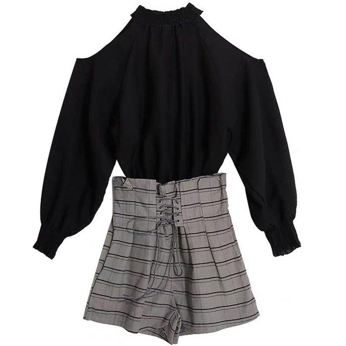 韓版學院風露肩上衣長袖襯衫闊腿格紋短褲