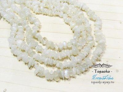 《晶格格的多寶格》串珠材料˙手珠念珠 天然藍暈白絲月光石.月長石碎石孔珠一條【S382】長40cm