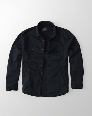 Maple麋鹿小舖 Abercrombie&Fitch * AF 深藍色軍裝風襯衫外套 * ( 現貨XXL號 )