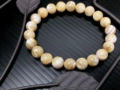 □§Disk的天然水晶§□【太極八卦】佛教秘寶-頂級黃金太極硨磲圓珠手鍊(8mm)FD-16
