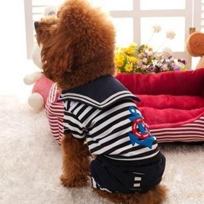 寵物衣 套腳狗狗衣服-帥氣海軍風連褲中小型犬寵物用品2色73ih3[獨家進口][米蘭精品]
