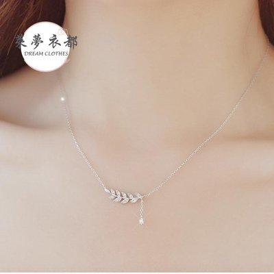 項鍊銀質鎖骨鍊日韓版簡約創意潮人學生森繫樹葉流蘇項鍊女士禮物