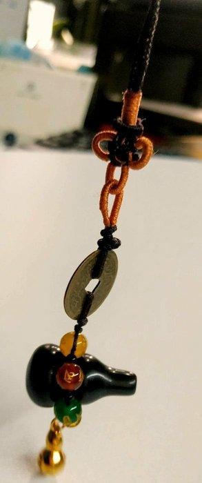 林老師開運坊~黑曜石葫蘆(除穢氣.五行珠轉氣.鈴鐺響聲招財)吊飾./2.5 X1.5cm~ 已開光
